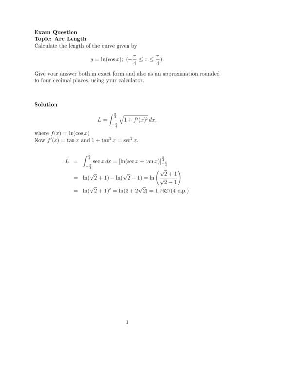 Calculus Exam questions - EdShare Southampton