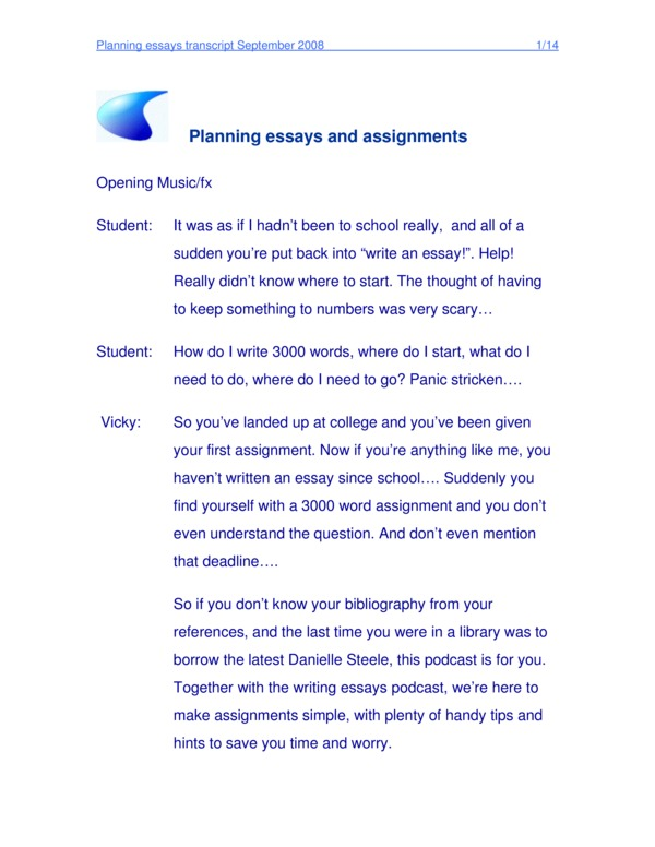 Essay Study Plan Sample